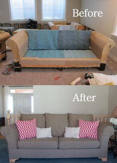 DIY:  Reupholster those ugly couches once and for all!  Its EASY!  Complete and detailed tutorial from doityourselfdivas.blogspot.com