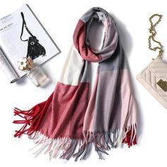 2018 winter scarf for women shawls wrap fashion plaid warm thick cashmere scarves lady pashmina female bandana quality Tassel Girls Dresses Sewing, Pompom Scarf, Designer Scarves, Cashmere Scarf, Scarf Styles, Womens Scarves, Bandana, Plaid, Shawls