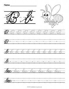 Help kids learn how to write both an uppercase and a lowercase cursive letter b with this fun handwriting worksheet featuring a bee. Cursive Letters Worksheet, Cursive Writing Practice Sheets, Teaching Cursive, Cursive Handwriting Practice, Letter Tracing Worksheets, Handwriting Analysis, Handwriting Worksheets, Alphabet Letters