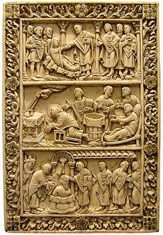 19 Ivory plaque, probably from a book cover, Reims late century, with two scenes from the life of Saint Remy and the Baptism of Clovis Romanesque Sculpture, Romanesque Art, Art Roman, Carolingian, Early Middle Ages, Medieval Art, Dark Ages, Gothic Art, Western Art