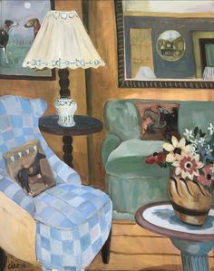 Hot on the heels of our #LottieCole social takeover, a new work by the artist. Discover more via link in image.  _________________ Interior with Blue Armchair, Duncan Grant Ceramic Vessel & Christopher Wood flowers Signed Oil on canvas 44 7/8 x 41 in 114 x 104 cms (LC093)