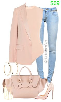 A fashion look from March 2016 featuring DKNY blazers, Anine Bing jeans and Christian Louboutin pumps. Browse and shop related looks. Classy Outfits, Chic Outfits, Fall Outfits, Summer Outfits, Fashion Outfits, Look Fashion, Runway Fashion, Autumn Fashion, Womens Fashion