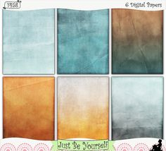 """Instant Download Blue and Orange Grunge Printable Art Journal Papers by JustBYourself.  Shabby distressed layers of blue and orange are featured on these digitally painted printable art journal papers. Instant download collection of 6 - 8.5"""" x 11"""" papers. (1458) $2.50"""
