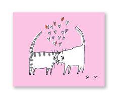 Valentine's Day Card - Headbutt Cats - Cat Valentine Card - Love Card - Cat Mom