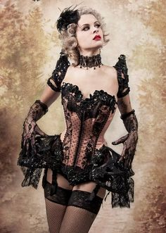 Burlesque Corset with half tutu Moda Steampunk, Costume Steampunk, Steampunk Fashion, Gothic Fashion, Steampunk Lingerie, Fashion Art, Hot Goth Girls, Gothic Girls, Goth Victorien