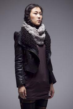 Jet black leather coat