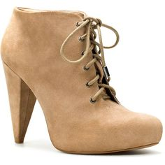 Suede Ankle Boot With Heel And Laces ($16) ❤ liked on Polyvore