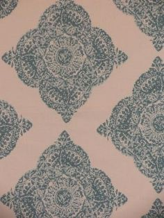 Denmark Seaglass...Linen Blend large scale medallion pattern on a versatile bone background with appoiments muted blue