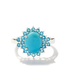 Sleeping Beauty Turquoise Ring with Neon Apatite in Sterling Silver 3.08cts