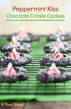 Peppermint Kiss Chocolate Crinkle Cookies are yummy chocolatey, minty cookies that are perfect for any Christmas Cookie tray. Holiday Cookies, Christmas Desserts, Christmas Treats, Christmas Mix, Christmas Cocktails, Christmas Foods, Christmas Things, Holiday Foods, Holiday Fun