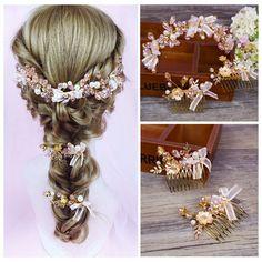 粉色浪漫水晶新娘結婚飾品 婚紗敬酒禮服盤發梳 影樓跟妝造型頭飾