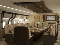 ... can double as a stately dining room, when necessary...Pan Seared Duck and whipped garlic mashed potatoes at Forty Thousand feet...can't get any cooler than that.....RR