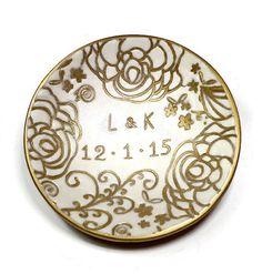 Custom Pearl White Ring Holder Handmade Ring Dish by BeadazzleMe