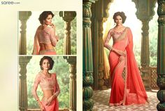 Truly feminine…absolutely stunning! This fun and flirty peach pink saree is a dream, if you wish to retain your girly vibe, and still be a traditional diva… Fluid and form flattering, this georgette saree has cascading shades of vibrant peach, and is paired with a beautiful blossom pink blouse with dreamy embroidery.
