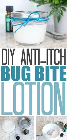 You can make your own anti-itch bug bite lotion using simple ingredients that you may already have in your pantry and your medicine cabinet! I love that this recipe really works and uses all-natural ingredients as well! Diy Lotion, Lotion Bars, Bug Bite Itch Relief, Young Living, Diy Peeling, Anti Itch Cream, Essential Oil Blends, Essential Oils, Homemade Beauty Products