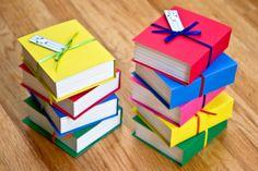 Book shaped favor boxes Set of 4 by FestivaPartyDesign on Etsy, $12.00
