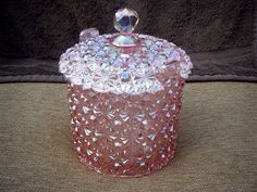 Fenton Art Glass Petal Pink Daisy & Button Candy Box Carnival Glass in Pottery & Glass, Glass, Art Glass   eBay