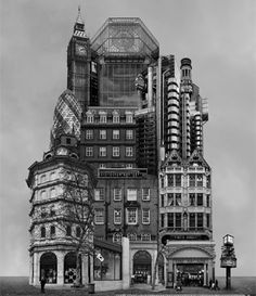 Beomsik Won: Archisculpture 013, 2012 www.kidsofdada.com/products/archisculpture-013 #art #collage #blackandwhite #buildings #London