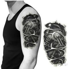 buy online 75d04 5a3e5 New Fashion Man Tattoo Robot Arm Waterproof Tattoos Stickers Mechanical Arm  Fake Transport