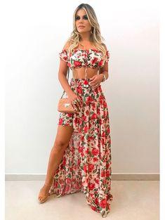 Blusa Cropped Janaina Elegant Dresses, Sexy Dresses, Evening Dresses, Fashion Dresses, Big Girl Fashion, Boho Fashion, Summer Outfits, Cute Outfits, Tropical Dress