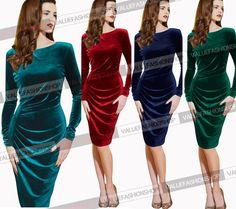 Womens Elegant Ruched Tunic Work Party Cocktail Bodycon Pencil Sheath Dress 470 #VfEmage #StretchBodycon #Cocktail
