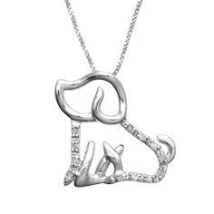 Sterling Silver 1/10 cttw Diamond Open Puppy Pendant - Pendant Necklaces - Necklaces | Jewel Exclusive #jewelexclusive