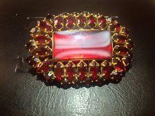 винтажный около 1930 гранат красного стекла с художественного стекла Чешская брошь