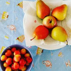 Enjoying some cherries, pears and an apple. Rainier Cherries, White Cherries, Pears, Cherry, Apple, Baking, Fruit, How To Make, Instagram