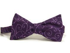 Purple bowtie purple scrolls lavender purple shades by TheWoolFish, $28.00