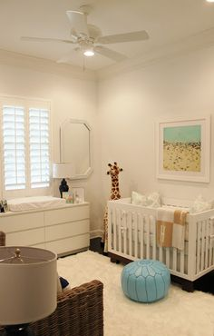Modern Nursery featuring Babyletto Modo Crib by Luxe Report.  I like the dresser & Moroccan poof