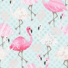 Timeless Treasures House Designer - Pink Flamingo - Pink Flamingo in Aqua