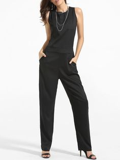 Crew Neck Back Hole Plain Straight Jumpsuit