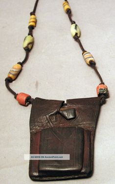 Tuareg Leather Prayer Beaded Necklace/Gris Gris/ Amulet