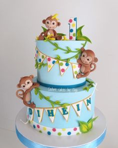 Baby monkeys by Couture cakes by Olga Baby monkeys by Couture cakes by Olga Monkey Birthday Cakes, Boys First Birthday Cake, Animal Birthday Cakes, Monkey Cakes, Fondant Monkey, Cake Designs For Kids, Safari Cakes, Jungle Cake, Couture Cakes