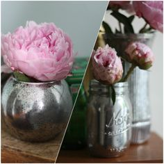DIY your own mercury glass from 17 Apart. Maybe for bridal shower flowers? I just bought a can of looking glass spray paint for DIY mercury glass! Diy Projects To Try, Craft Projects, Simple Projects, Diy Casa, Do It Yourself Home, Crafty Craft, Crafting, Mercury Glass, Decoration