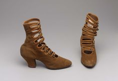 1908 Boots, made of suede and leather.