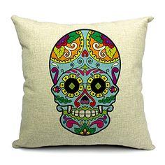 18 X 18 Inch Skulls Cotton Linen Decorative Throw Pillow Cover Cushion Case (1)