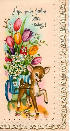 Vintage get well card with deer with tulips