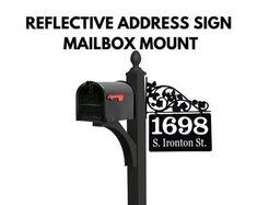 Etsy :: Your place to buy and sell all things handmade Address Signs For Yard, Driveway Markers, Mailbox Makeover, Mounted Mailbox, Home Landscaping, Decorative Panels, New Homeowner, Scroll Design, Solar Lights