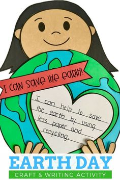 This printable Earth Day craft for kids is fun and easy! The resource includes a writing extension activity for your students to do. Great for teaching kindergarten, first, or second grade students to think about what they can do to help save the Earth.