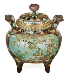 """A Very fine Japanese Cloisonne Koro and Pierced Cover"" by Unknown (Lot Number 160) 