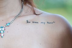 """still-wanderingg:          """"I got this tattoo a couple days before my wedding. My boyfriend, at the time, wrote me a hand-written note on our anniversary that said 'You have my heart.'. The first time he ever saw this tattoo was when I met him at the alter. The look on his face will never leave my mind."""""""