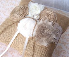 Ring Bearer Pillow  Shabby Chic Burlap and Lace Rustic by itsmyday, $40.00