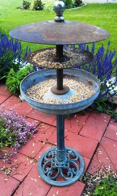 DIY garden art upcycled bird feeder artful garden Dishfunctional Designs: The Upcycled Garden Volume 7: Using Recycled Salvaged Materials In Your Garden
