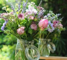 summer wildflowers in jars