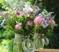 flowers in kilner jars