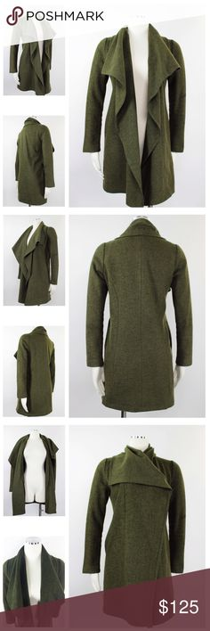 """Piko 1998 Open Front Cascade Shawl Wool Coat 1062 Piko 1988 Anthropologie Women's Green Olive Green Military Wool Waterfall Shawl Collar Open Front Jacket Coat.  Hidden Side Pockets. Fitted Back. Semi lined.  Midweight wooly material that has lots of shape and drapes beautifully!  Retails $300 Size: M  Shoulder: 15""""  Sleeves: 23.5""""  Pit to Pit: 20""""  Length: 32""""  Good - has vertical tear in the interior lining, can easily be mended by tailor. Otherwise Very Good Condition! 50% Wool, 50%…"""