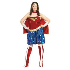 """Wonder Woman Adult Women's Costume. Choose this fun polyester Wonder Woman Adult Women's Costume and be ready to trick-or-treat, enter a costume contest or be the hit of the Halloween party! Wear this costume to a masquerade ball or as the perfect disguise at a haunted house. This outfit is sure to win you the """"best costume"""" award at any Halloween costume party! Plus size 16 to 20. Includes:- Dress - Cape - Headband - Bracelets - Belt - Boot topsSpecial Shipping Information:This item ships…"""