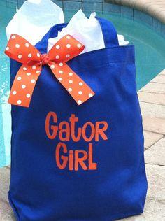 Florida Gator Girl Embroidered Tote Bag
