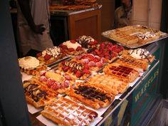 mouth watering Belgian waffles, Belgium